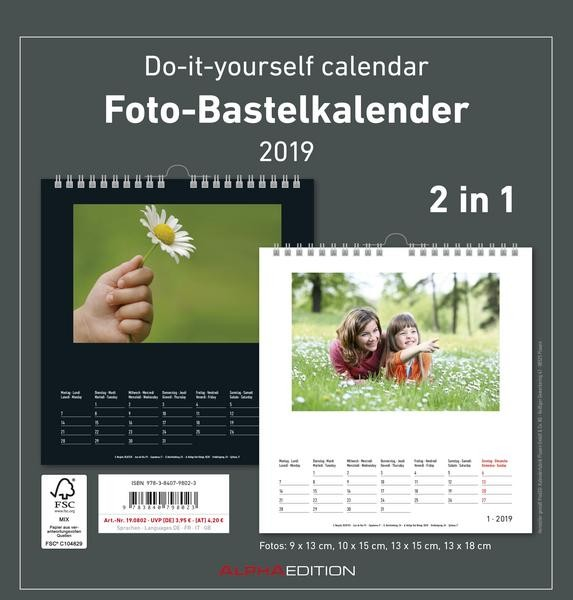 Foto-Bastelkalender datiert FAMILY 2 in 1 21 x 22 cm